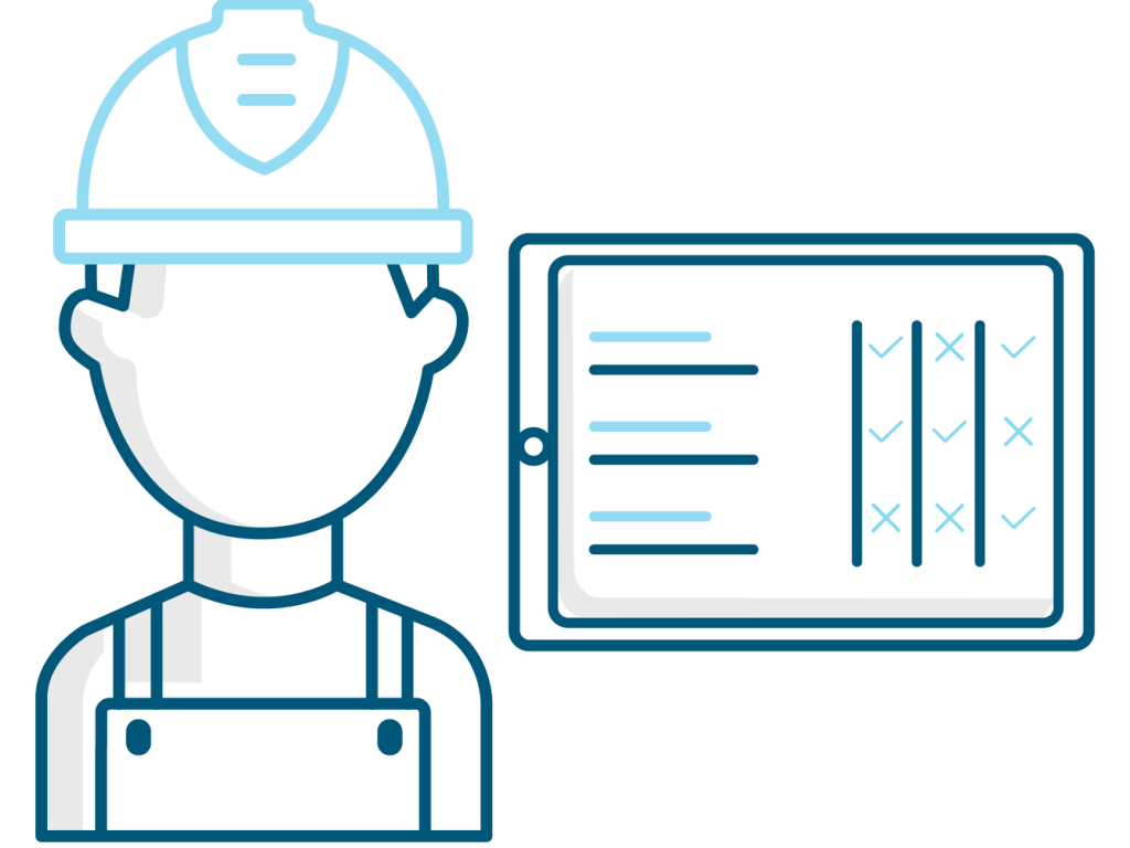 Illustration of a worker with a tablet with IGuide on it